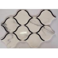 Quality Black Marble Stone And Glass Mosaic Tiles Sheets , Glass Mosaic Kitchen Tiles Floor Pattern for sale