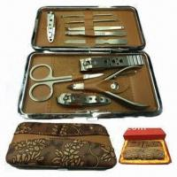 Quality Manicure Set, Made of Stainless Steel and Wood for sale