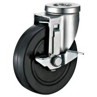 "Quality Rubber Shopping Cart Casters With Slide Locking Brakes 1/2"" Bolt Hole for sale"