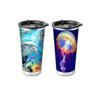 Quality Custom Printed 3D Lenticular Printing Service 3D Plastic Cup 420ML for sale