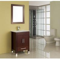 Buy MDF / Solid Wood Board Walnut Single Sink Vanity Cupboard 15mm Door Thickness at wholesale prices