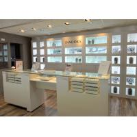 Quality Customized Logo High Wall Display Cabinets / Jewelry Display Cases Beige Color for sale