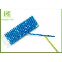 China Durable Navy Blue Polka Dot Paper Straws , Long Wedding Paper Straws on sale