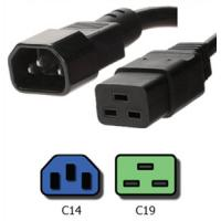 Quality Black C14 to C19 3 Prong Server Power Cord IEC 60320 Service Junior Thermoplastic for sale