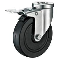 Quality Total Brakes Metal Industrial Cart Wheels / Slide Black Industrial Casters for sale