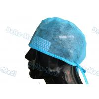 China Blue Disposable Surgeon Caps , PP / SMS Disposable Surgical Hats With Sweatband on sale
