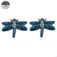 3D Fashionable Embroidered Bird Patches , Handmade Blue Dragonfly Iron On Applique