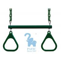 Quality Green Metal & Plastic Trapeze Bar And Rings Hanging With Chains Dipped for sale