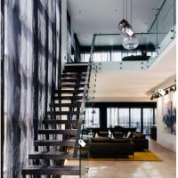 Quality European classic stair black wood steel staircase with patch fitting glass railing for sale