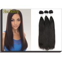 Quality Black Remy Virgin Human Hair Extensions , Peruvian Straight Hair for sale