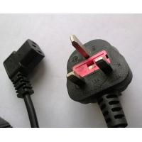 Quality BS1363A fused plug UK power cord with right angled C13 connector for sale