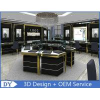 Quality Custom Made Mirror Black Glass Jewelry Display Cases / Retail Jewellery Display Cabinets for sale