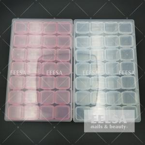 Quality 28 Grids Clear Nail Art Rhinestone Jewelry Bead Plastic Nail Art Storage Box for sale