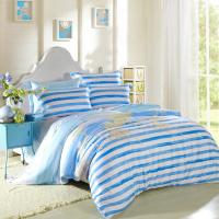 Buy Kids Bedroom Home Bedding Sets Environmentally Friendly Blue / Black And White Striped Bedding at wholesale prices