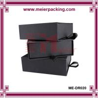 Quality High quality matte black slide paper box/cardboard drawer box with ribbon ME-DR020 for sale
