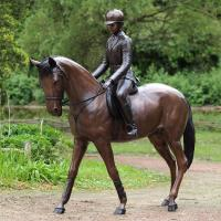 Quality high quality Life size bronze girl with citation horse statue for garden decor for sale