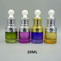 Quality Luxury colorful  Round 20ml cosmetic essential oil glass bottle with dropper for sale