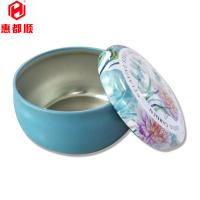 Quality Round Cute CMYK Printed Tin Boxes , 0.23 MM Recyclable Tinplate Candles Container for sale