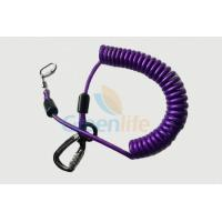 Quality Purple Nylon Retractable Tool Lanyard Plastic Covered With Aviation Aluminum Hook for sale