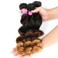 Buy Blonde 1b/4/27 3 Tone Remy Ombre Hair Extensions Ombre Brazilian Curly Hair Loose Wave at wholesale prices