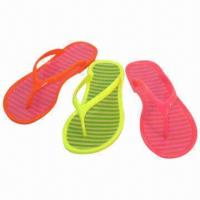 China Women's Flip-flops, PVC Injection Thongs with Fluorescent Color, Candy Strip Insole on sale