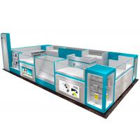 Quality Standard Glass Cell Phone Display Case / Mobile Phone Kiosk With LED Strip Lights for sale