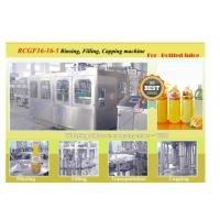 Small Bottled Liquid Orange Juice Filling Machine With 16 Filling / Rinsing Heads 5500 B/H