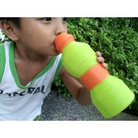 Quality Leak Proof  Protable Green Silicone Foldable Sports Drinking Bottle For Kids for sale
