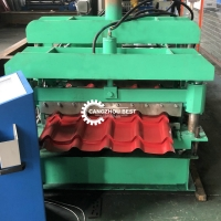 China Steel Glazed 6m/min Roof Tile Roll Forming Machine For House on sale