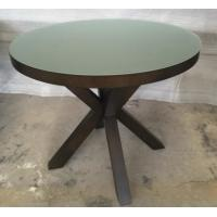 Quality 6MM Tempered Glass Top Round Dining Table Hotel Interior Furniture ISO Listed for sale