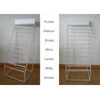 Quality 12 Tier Hooks Zipper Metal Floor Display Stands Single Side Tubular Frame for sale