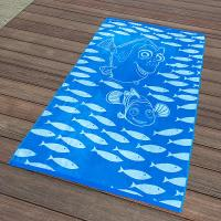 Quality Kids Blue Fish Jacquard Beach Towel Long - Lasting And Absorbent Design for sale