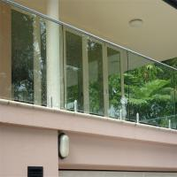 Quality Clear Glass Panel Fixed with steel polish spigots design railing system for sale