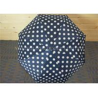 Quality Navy Blue Mens Collapsible Umbrella , Strong Fold Up Umbrella With Round Circle Dot for sale
