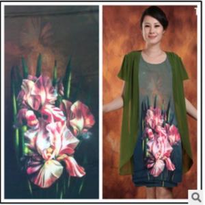 High-grade skirt knitted fabrics snow high elastic silk silk flower