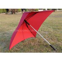 Quality Red Pongee Fabric Square Rain Umbrella Aluminum Shaft Rod With Shoulder Bags for sale