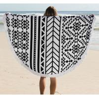 Quality 150CM 100% Cotton Roud Bohemia Printed Tassel Knitted Beach Towel Aztec round beach towel for sale