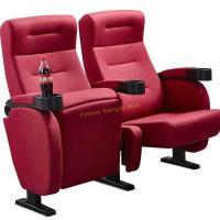 Quality Fire Resistant Red Fabric Folding Movie Theater Chairs Tip Up By Gravity for sale