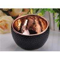 Quality 368ml Black Glazed ceramic candle containers with Rose Gold Electroplated Inside for sale