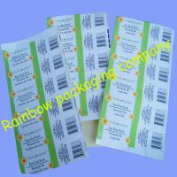 Quality Customized Packaging Plastic Film , Transparent Barcode Self-adhesive Sticker for sale