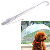 Quality POE See Through Umbrella Clear Transparent Pet Dog Umbrella With Chain for sale