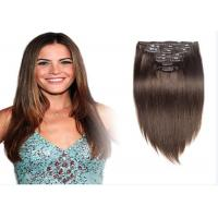 Quality Brown #8 Clip In human Hair Extensions Peruvian Human Hair For Beauty Works for sale