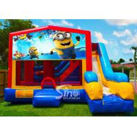 Buy 7in1 kids Despicable Me minion bounce house with basketball hoop N obstacles inside for sale at wholesale prices