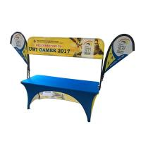 Quality Tradeshow Advertising Spandex Elastic Polyester table cloths with teardrop flag for sale