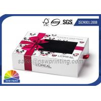Quality Cream Packing Rectangle Rigid Paper Box Cardboard Drawer Box With PVC Window for sale