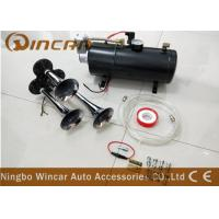 Quality 3 Trumpet 12V Portable Air Compressor 135DB Train Air Horn Black 150 PSI Full Onboard System Kit for sale