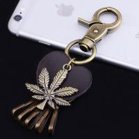 Quality metal keychain blank metal keychain metal coin holder keychain leaf shape key chains for sale