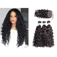 Quality Black 3 Hair Bundles With Closure , Woman Brazilian Virgin Hair Water Wave for sale