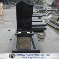 Quality Wings Carved Absolute Black Granite Tombstone, Shanxi Black Granite Monuments for sale