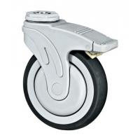 Quality Full Plastic Medical Caster Wheels With Brake Soft Rubber Bolt Hole Fixing for sale